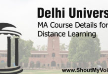Delhi University MA Course Details for Distance Learning