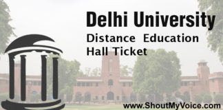 Delhi University Distance Education Hall Ticket