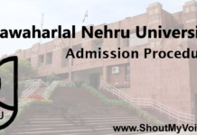 Jawaharlal Nehru University Admission Procedure