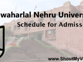 Jawaharlal Nehru University Schedule for Admission
